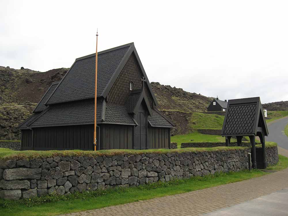 Scandinavian stave church in Westman Islands