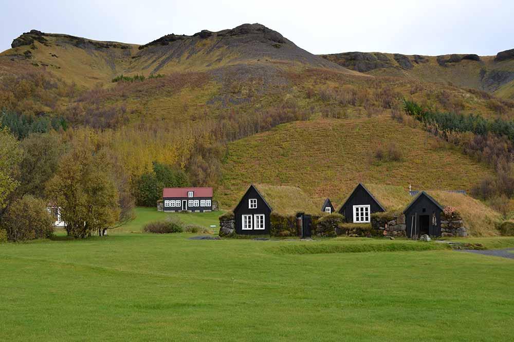 Icelandic turf houses at Skógar museum